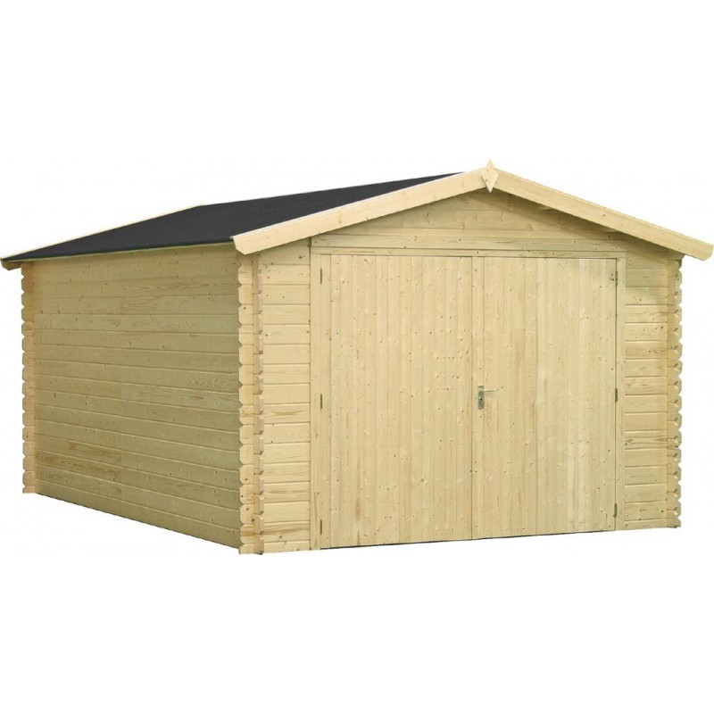 Garage en bois massif 18 01m madriers 34mm bear county for Bear county abri de jardin