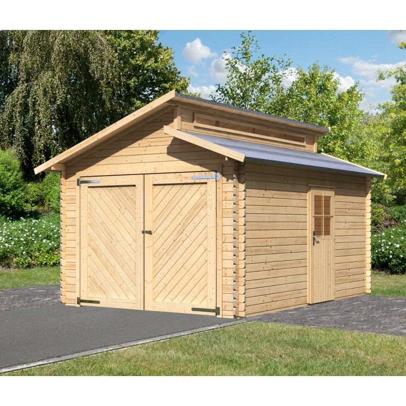 garage en bois massif 14 62m toit gradin madriers 28mm. Black Bedroom Furniture Sets. Home Design Ideas
