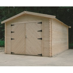 Garage en bois massif 15,68m² madriers 28mm SOLID