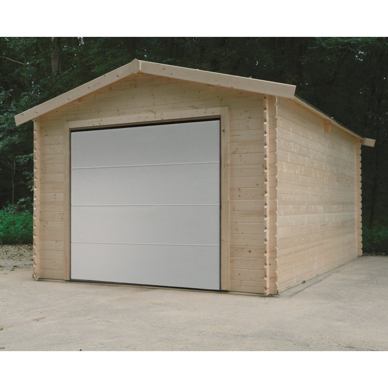 Garage avec porte sectionnelle motoris e 15 68m madriers for Garage de jardin en bois