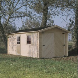 Garage en bois massif 19,26m² madriers 28mm SOLID