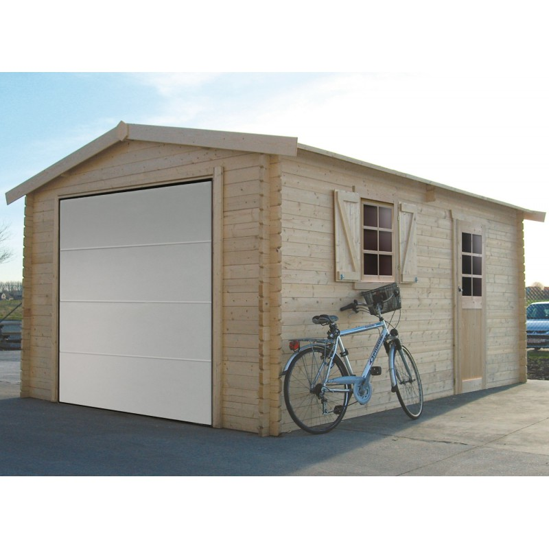 garage 19 26m avec porte sectionnelle motoris e bois 40mm solid. Black Bedroom Furniture Sets. Home Design Ideas