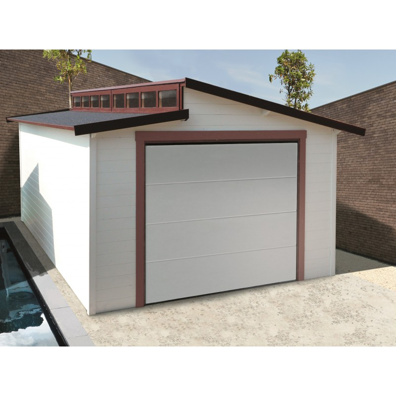 garage torino 20 91m avec porte sectionnelle motoris e madriers 28mm solid. Black Bedroom Furniture Sets. Home Design Ideas