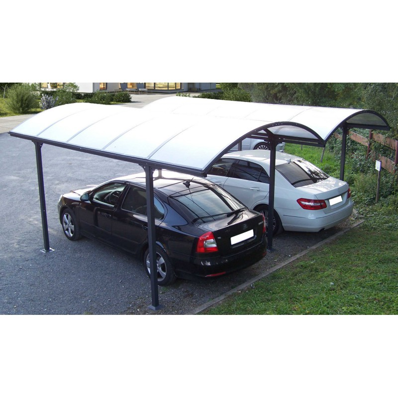 Carport 2 voitures en aluminium et polycarbonate 6mm anti uv - Garage carport voiture ...