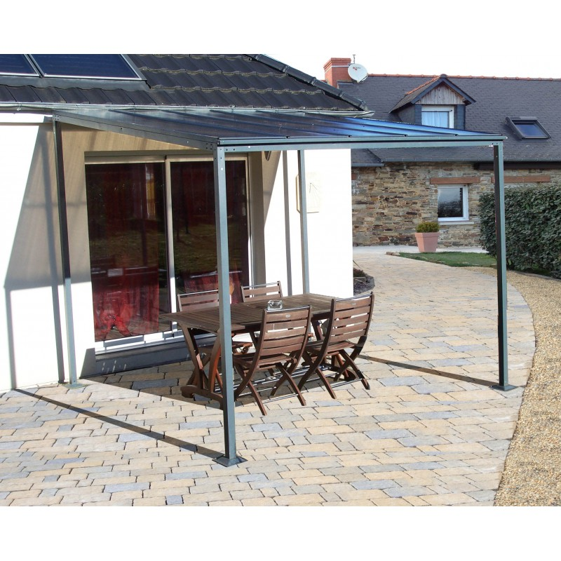 Carport adoss 1 voiture en aluminium et polycarbonate 6mm anti uv - Carport adosse aluminium ...
