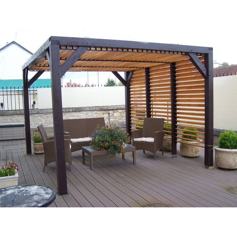 pergola en bois avec ventelles amovibles sur toiture 1. Black Bedroom Furniture Sets. Home Design Ideas