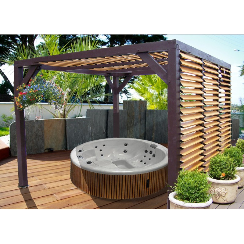 pergola en bois avec ventelles amovibles sur toiture 1 c t 348x310x232cm veneto. Black Bedroom Furniture Sets. Home Design Ideas