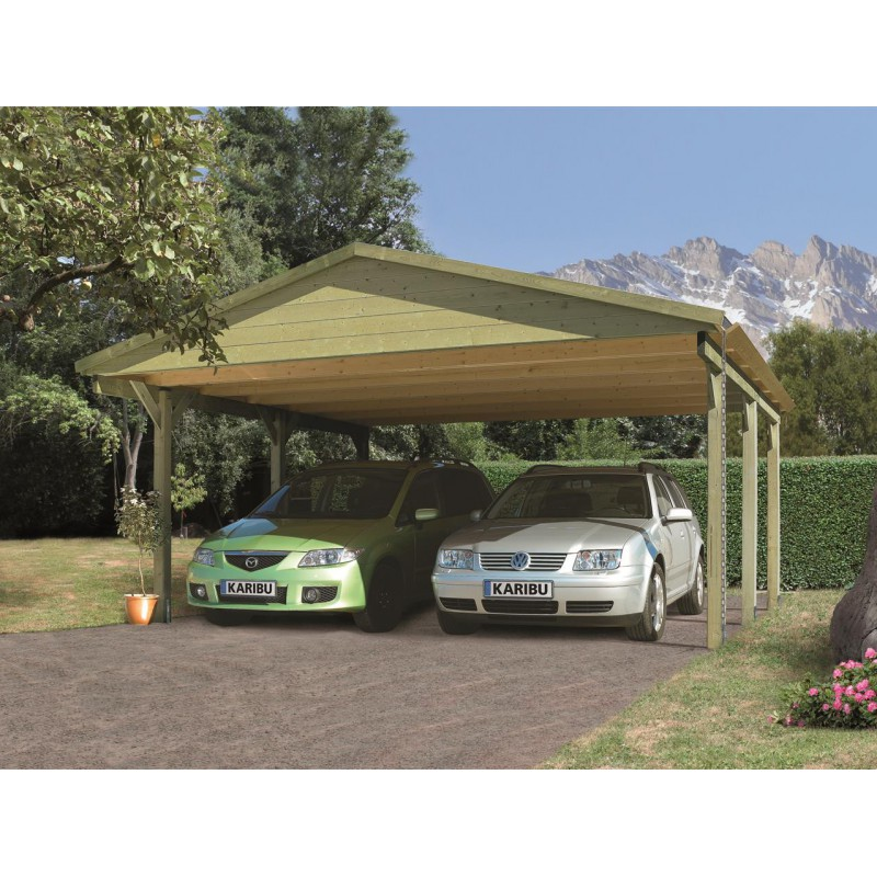 carport 2 voitures double pente 26 29m en bois autoclave fsc karibu. Black Bedroom Furniture Sets. Home Design Ideas