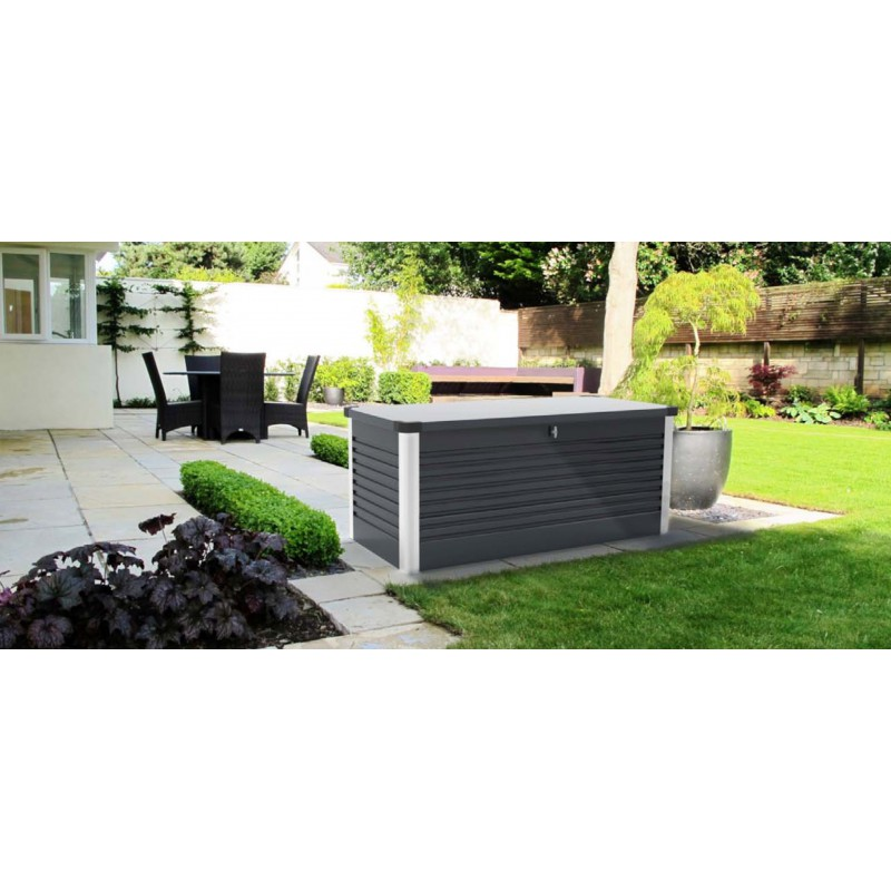 coffre de jardin en m tal anthracite 1000l patio box trimetals. Black Bedroom Furniture Sets. Home Design Ideas