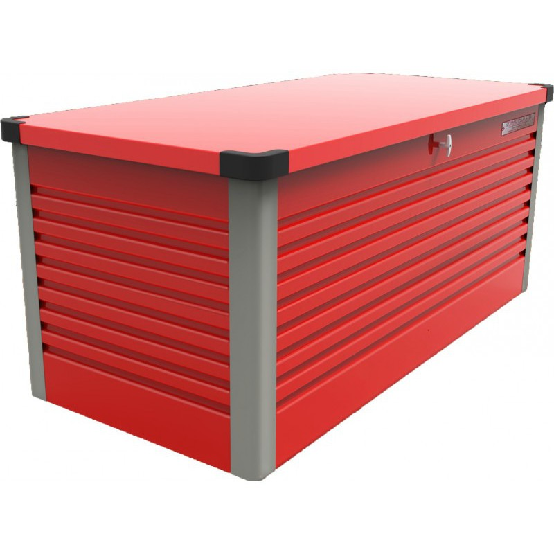 coffre de rangement en m tal rouge 750l patio box 1 06m trimetals. Black Bedroom Furniture Sets. Home Design Ideas