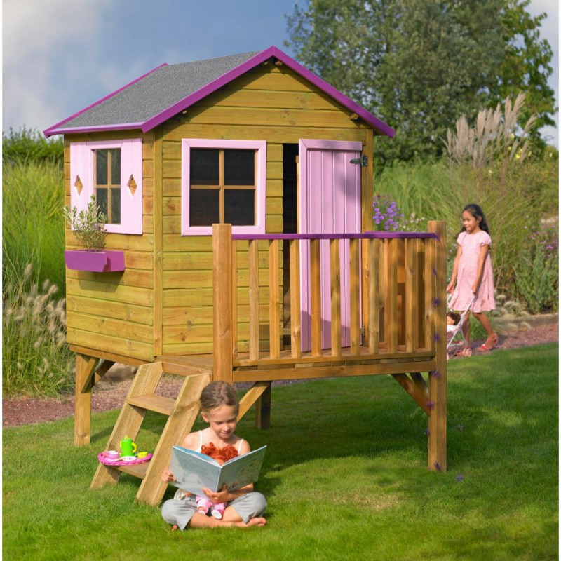 cabane sur pilotis enfants charlotte 123x174x212cm cerland. Black Bedroom Furniture Sets. Home Design Ideas