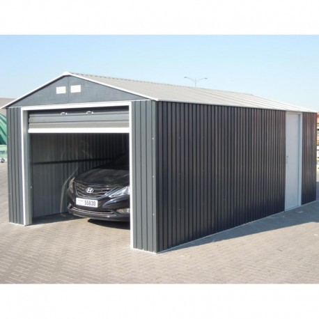garage en m tal anthracite 19 95m h 2 60m duramax. Black Bedroom Furniture Sets. Home Design Ideas