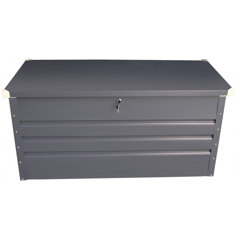 coffre de rangement en m tal anthracite 430l avec plancher. Black Bedroom Furniture Sets. Home Design Ideas