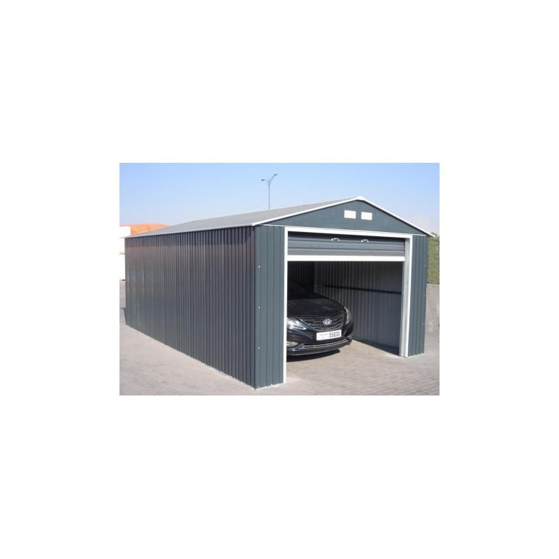 Garage en m tal anthracite 19 95m h 2 60m duramax for Hauteur garage