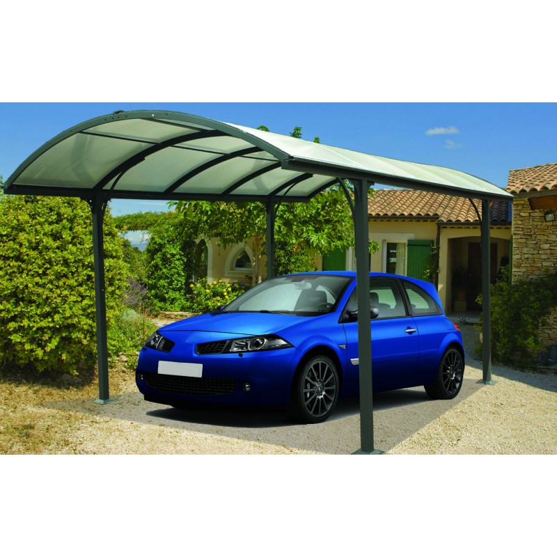 carport en aluminium 1 voiture toit polycarbonate 6mm habrita. Black Bedroom Furniture Sets. Home Design Ideas