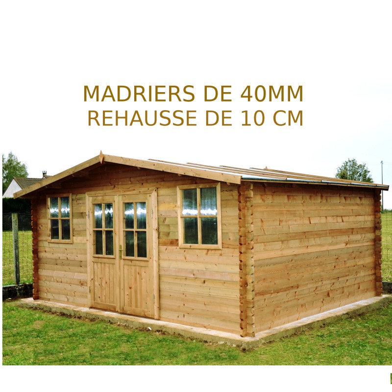 rehausse de 10cm pour abri de jardin 19 8m madriers de 40mm gardy shelter. Black Bedroom Furniture Sets. Home Design Ideas