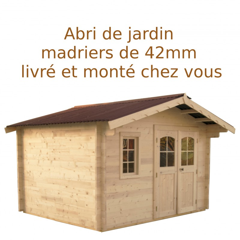 abri de jardin en bois madriers 42mm 13 09m montage inclus. Black Bedroom Furniture Sets. Home Design Ideas