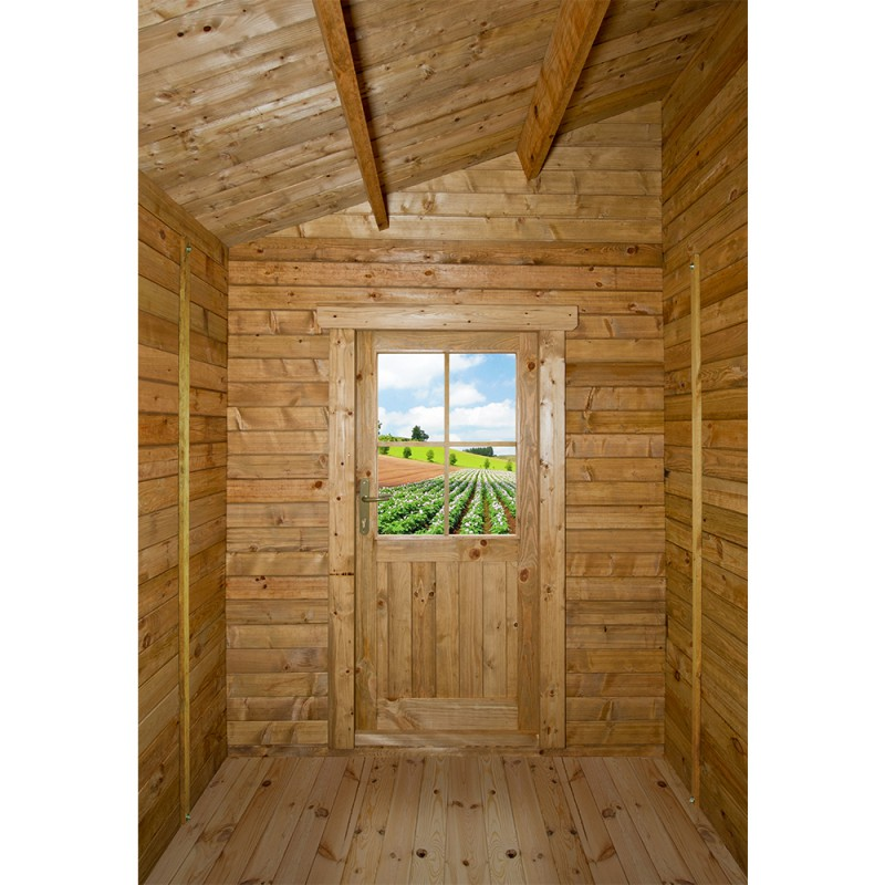 Abri adoss 5 92m plus madriers 28mm trait s marron gardy shelter - Traitement abri de jardin ...