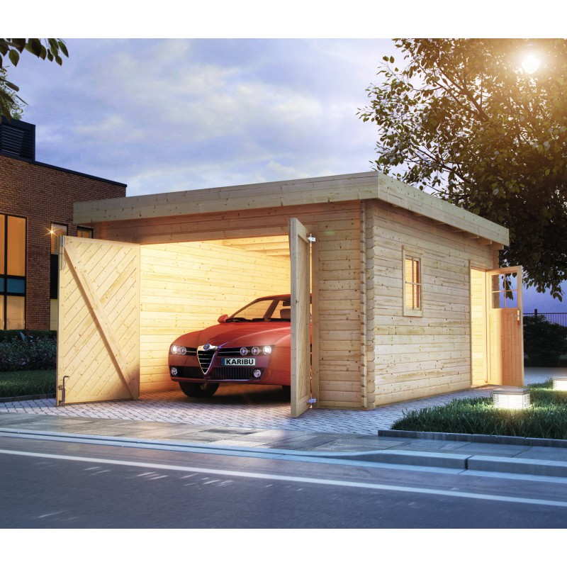 Garage en bois massif 20 78m toit plat madriers 40mm for Garage en bois en solde