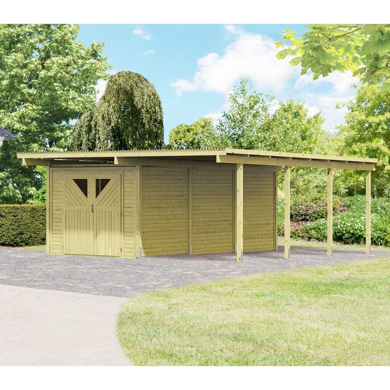 carport en bois autoclave 30 35m avec d barras 14 4m karibu. Black Bedroom Furniture Sets. Home Design Ideas