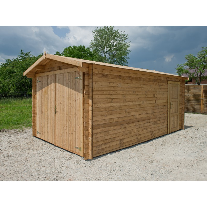 Garage en bois massif pais de 40mm trait et teint gardy for Garage en bois en solde