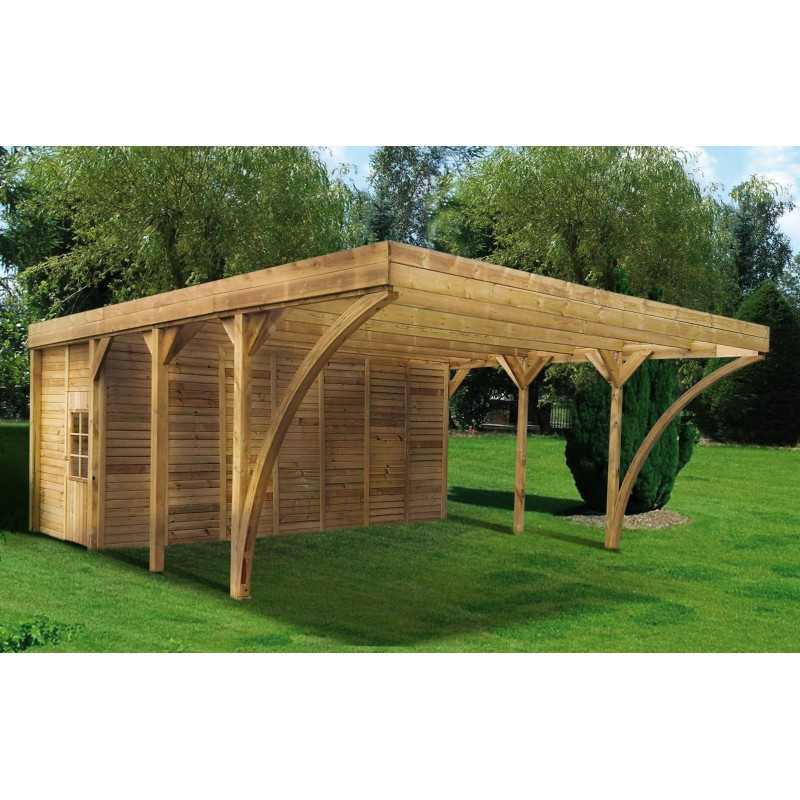 carport double 42 12m remise en bois autoclave aymar. Black Bedroom Furniture Sets. Home Design Ideas