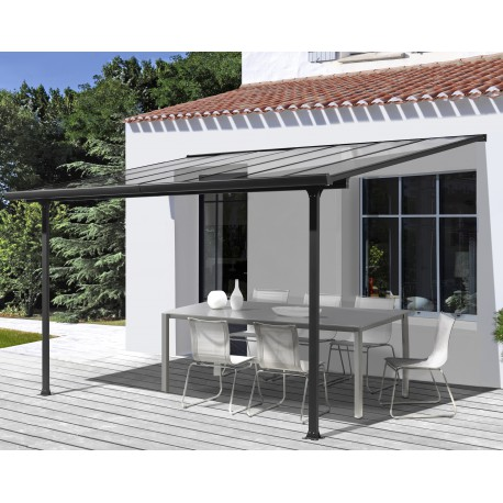 toit de terrasse 3x3m en alu anthracite et polycarbonate habrita. Black Bedroom Furniture Sets. Home Design Ideas