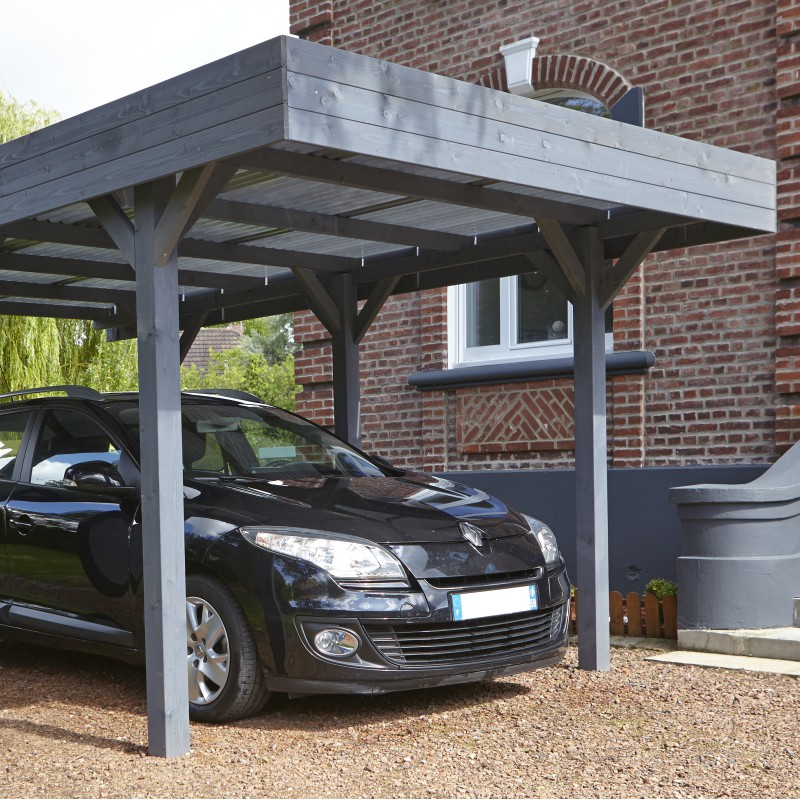 Carport Simple 15 75m 178 En Bois Lasur 233 Gris Anthracite