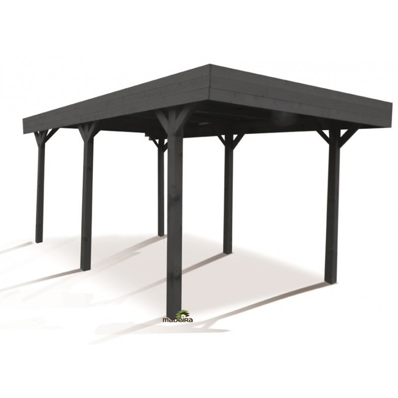 carport simple 15 75m en bois lasur gris anthracite louison madeira. Black Bedroom Furniture Sets. Home Design Ideas