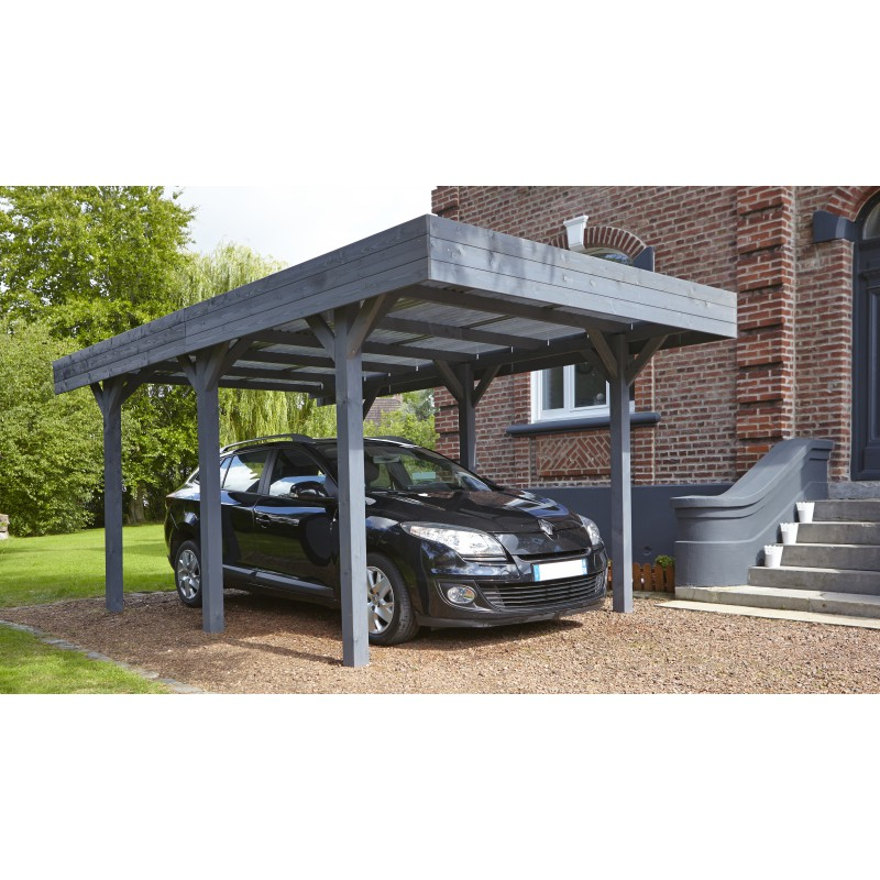 carport simple 15 75m en bois lasur gris anthracite. Black Bedroom Furniture Sets. Home Design Ideas