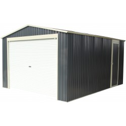 Garage métal PLUS anthracite porte enroulable + kit d'ancrage X-METAL