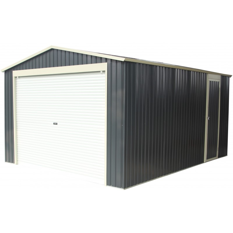 Garage m tal anthracite 19 52m porte enroulable kit d - Garage exterieur metal ...
