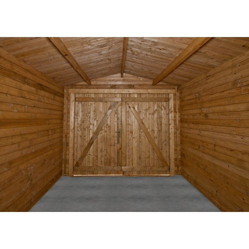 Garage en bois massif 40mm trait teint marron gardy shelter for Garage bois autoclave