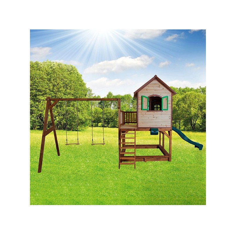 cabane pour enfants en bois liam avec 2 balan oires 118x120x174cm axi. Black Bedroom Furniture Sets. Home Design Ideas