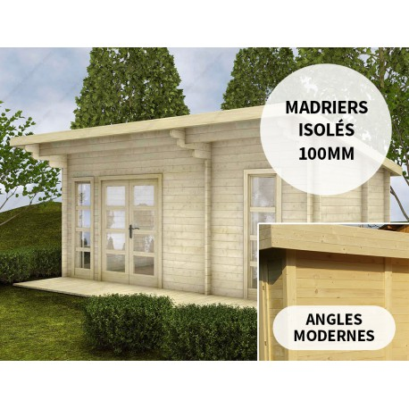 Chalet En Bois Massif 19m Isolation Madriers 100mm Gardy Shelter