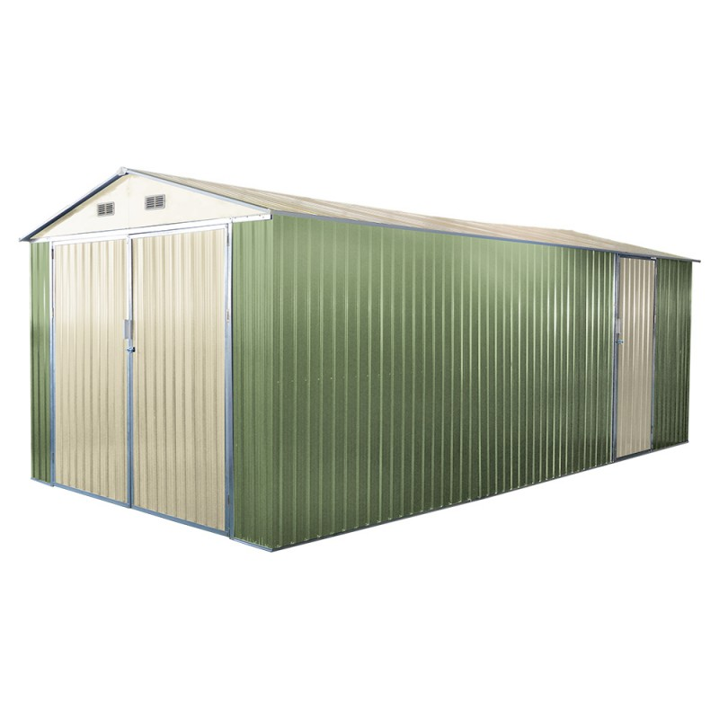 Garage double en metal vert p le 18m kit d 39 ancrage x metal - Porte garage double ...