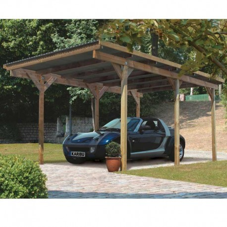 carport simple en pin autoclave avec toit pvc 14 9m karibu. Black Bedroom Furniture Sets. Home Design Ideas