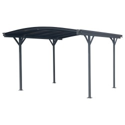 Carport en aluminium anthracite 3x3,63m et polycarbonate 6mm X-METAL