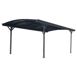 Carport en aluminium anthracite 3x4,34m et polycarbonate 6mm X-METAL