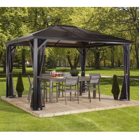 pergola 3x4m verona en alu gris et toit polycarbonate 6mm sojag. Black Bedroom Furniture Sets. Home Design Ideas
