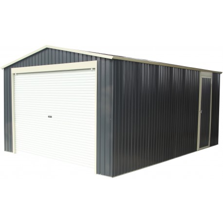 Garage m tal anthracite 17 3m porte enroulable ancrage for Porte garage enroulable aluminium
