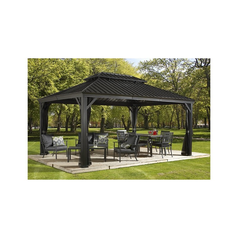 pergola alu anthracite et acier galvanis messina 3 63x4. Black Bedroom Furniture Sets. Home Design Ideas
