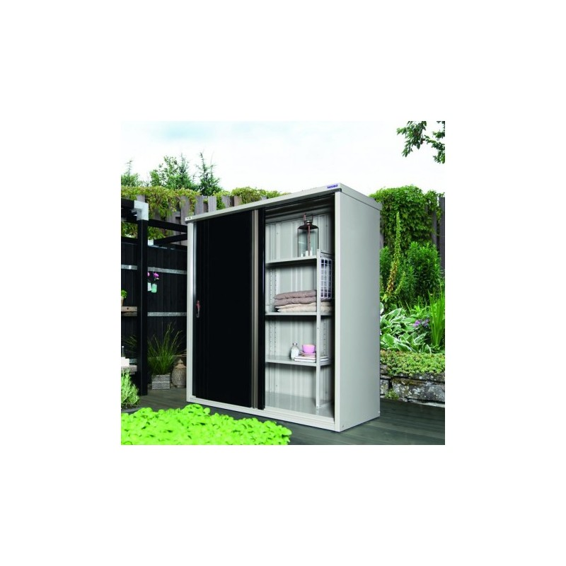 armoire de jardin cr me avec portes noires m177. Black Bedroom Furniture Sets. Home Design Ideas