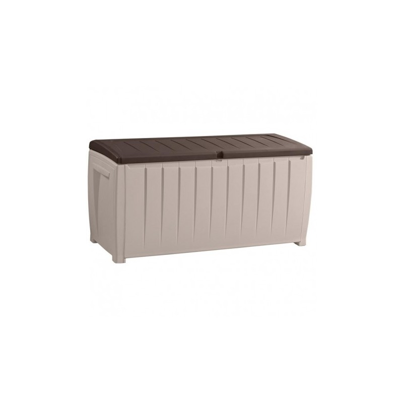 coffre banc de jardin 340l marron et beige keter. Black Bedroom Furniture Sets. Home Design Ideas